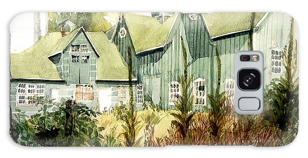 Watercolor Of An Old Wooden Barn Painted Green With Silo In The Sun Galaxy Case