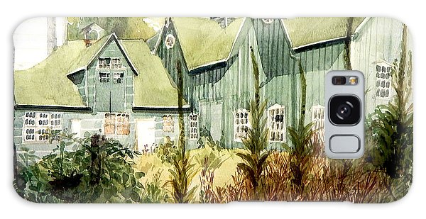 An Old Wooden Barn Painted Green With Silo In The Sun Galaxy Case by Greta Corens