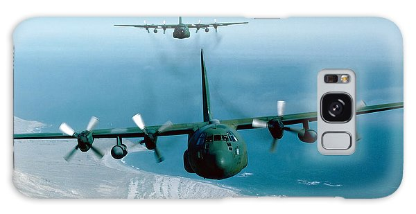 Galaxy Case featuring the photograph A Pair Of C-130 Hercules In Flight by Stocktrek Images