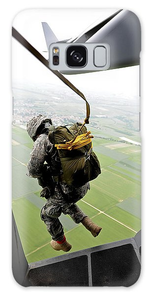Galaxy Case featuring the photograph A Paratrooper Executes An Airborne Jump by Stocktrek Images