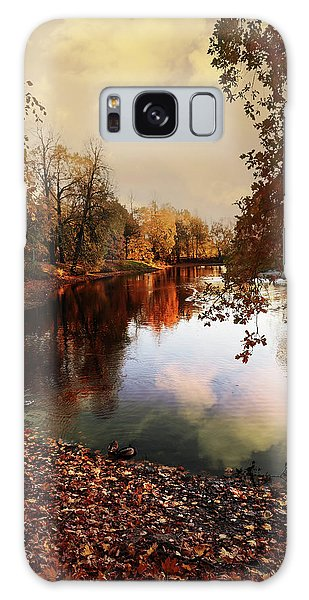 a quiet evening in a city Park painted in bright colors of autumn Galaxy Case