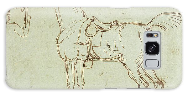 Pen And Ink Drawing Galaxy Case - A Racehorse, Bridled And Saddled  by James Seymour