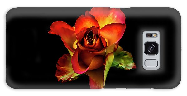 A Red Rose On Black Galaxy Case