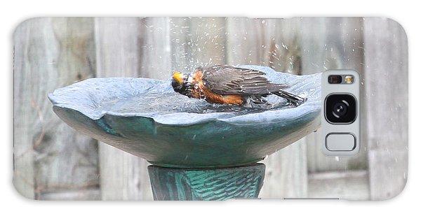 A Robin Enjoying A Bath Galaxy Case