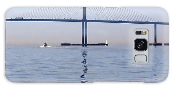 Motor Yacht Galaxy Case - A Sailboat And A Motor Yacht Pass The Bob Graham Sunshine Skyway by Louise Heusinkveld