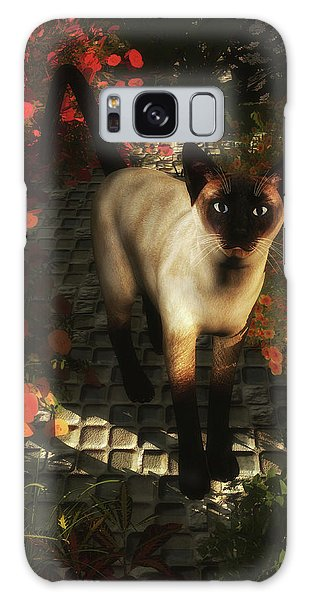 A Siamese Cat Is Looking  Galaxy Case