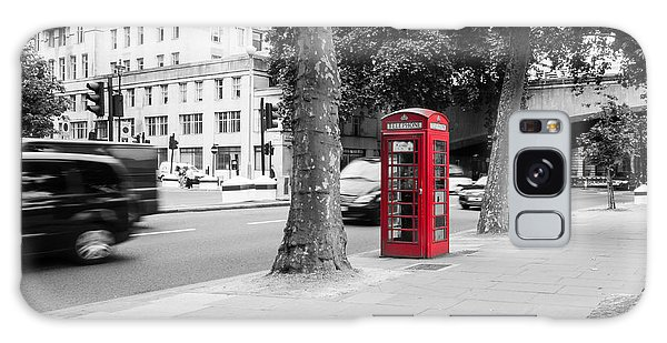 A Single Red Telephone Box On The Street Bw Galaxy Case