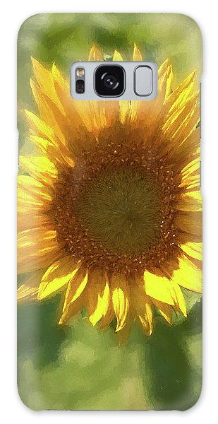 A Single Sunflower Showing It's Beautiful Yellow Color Galaxy Case