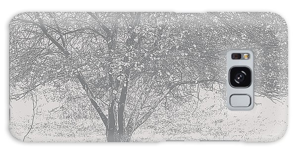 A Single Tree In Autumn In Grey And White Galaxy Case