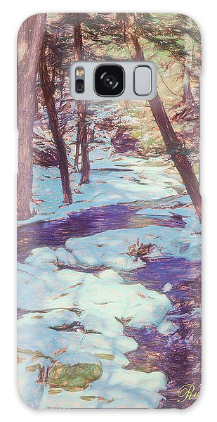 A Small Stream Meandering Through Winter Landscape. Galaxy Case