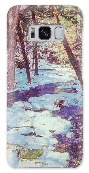 A Small Stream Meandering Through Winter Landscape. Galaxy Case
