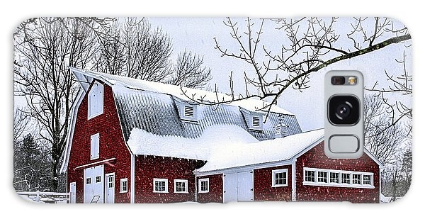 A Snowy Day At Grey Ledge Farm Galaxy Case by Betty Denise