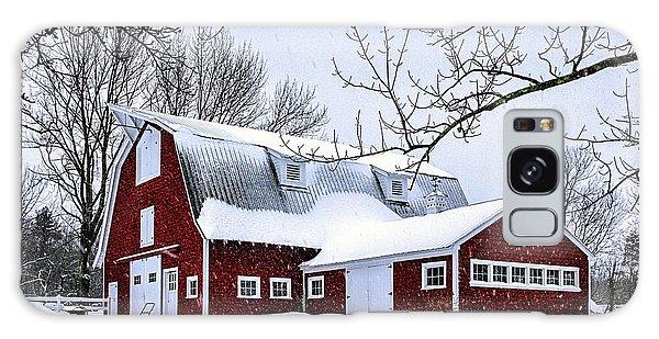 A Snowy Day At Grey Ledge Farm Galaxy Case