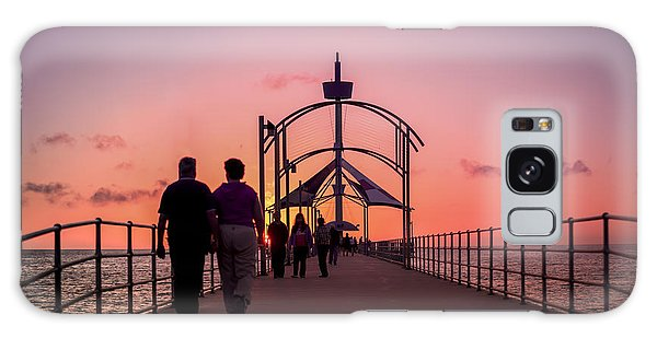 A Stroll Along Sunset Pier Galaxy Case