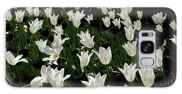 A Study In Black And White Tulips Galaxy Case by Victoria Harrington