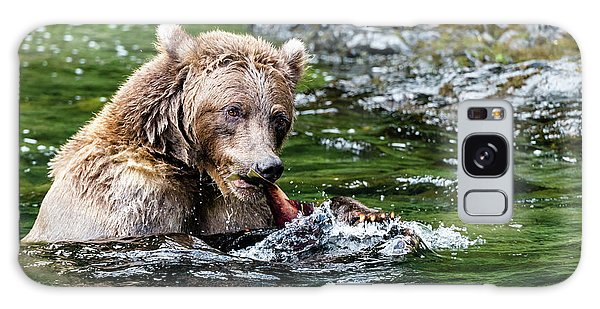 Grizzly Bears Galaxy Case - A Tail Of A Bear Eating A Fish by Ian Stotesbury