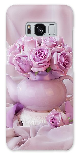 A Tea Pot Of Lavender Pink Roses  Galaxy Case by Sandra Foster