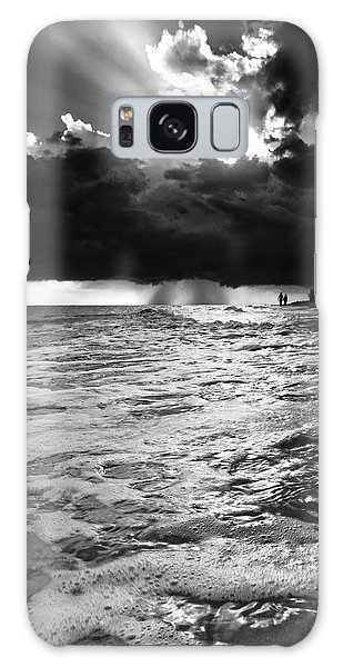 A Walk On The Beach In Black And White Galaxy Case