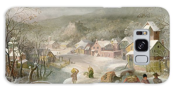 A Winter Landscape With Travellers On A Path Galaxy Case by Denys van Alsloot