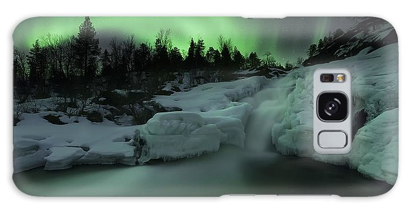Galaxy Case featuring the photograph A Wintery Waterfall And Aurora Borealis by Arild Heitmann