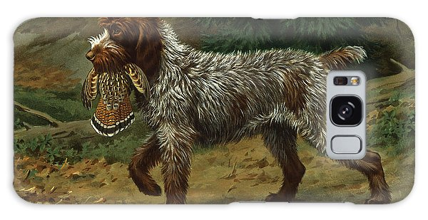 A Wire-haired Pointing Griffon Holds Galaxy Case