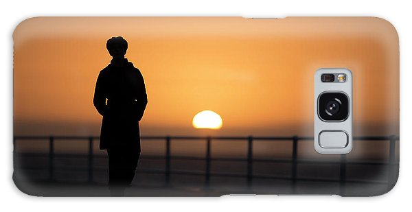 A Woman Silhouetted At Sunset Galaxy Case
