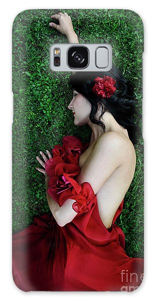 A Woman Sleeping On The Grass In A Red Dress Galaxy Case