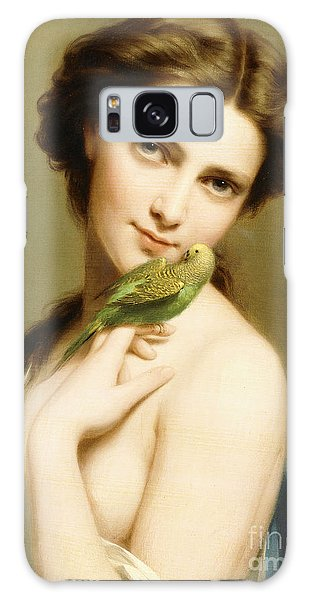 Parakeet Galaxy Case - A Young Beauty With A Parakeet by Fritz Zuber-Buhler