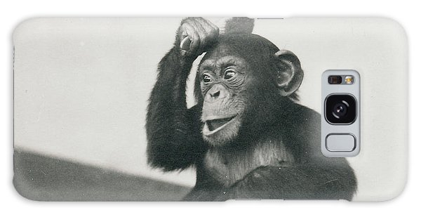 A Young Chimpanzee Playing With A Brush Galaxy Case