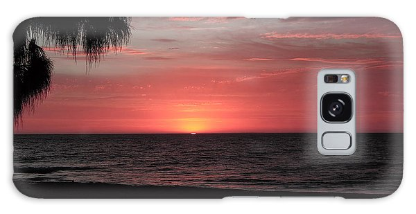 Abstract Beach Palm Tree Sunset Galaxy Case