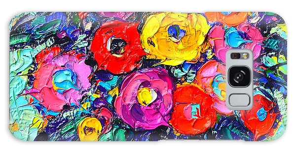 Abstract Colorful Wild Roses Modern Impressionist Palette Knife Oil Painting By Ana Maria Edulescu  Galaxy Case
