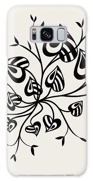 Abstract Floral With Pointy Leaves In Black And White Galaxy Case