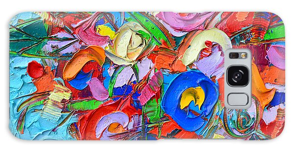 Abstract Flowers Floral Miniature Modern Impressionist Palette Knife Oil Painting Ana Maria Edulescu Galaxy Case
