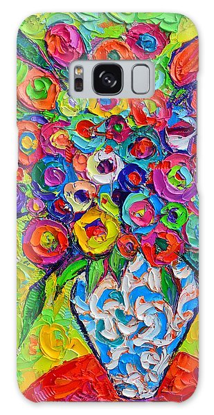 Abstract Flowers Of Happiness Impressionist Impasto Palette Knife Oil Painting By Ana Maria Edulescu Galaxy Case