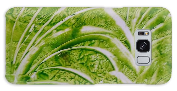 Abstract Green And White Leaves And Grass Galaxy Case