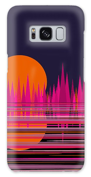 Abstract Moon Rise In Pink Galaxy Case