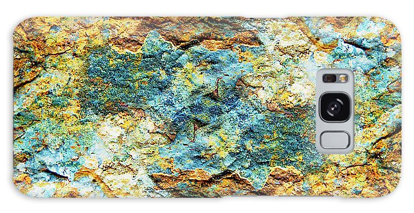 Abstract Nature Tropical Beach Rock Blue Yellow And Orange Macro Photo 472 Galaxy Case