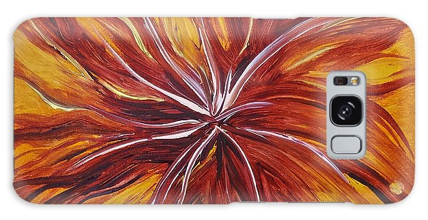 Abstract Orange Flower Galaxy Case