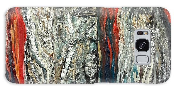 Abstract Red And Silver Latte Stones Galaxy Case