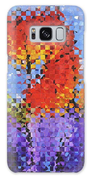 Abstract Red Flowers - Pieces 5 - Sharon Cummings Galaxy Case by Sharon Cummings