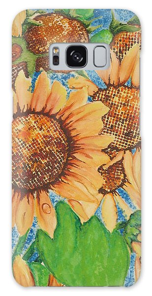Abstract Sunflowers Galaxy Case by Chrisann Ellis