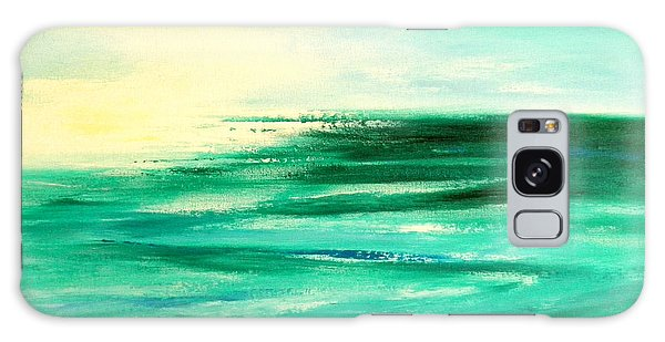 Abstract Sunset In Blue And Green Galaxy Case