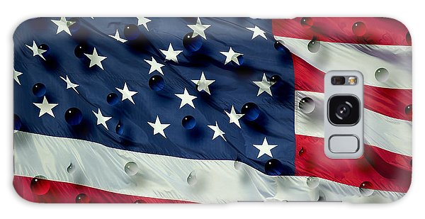 Abstract Water Drops On Usa Flag Galaxy Case by Georgeta Blanaru