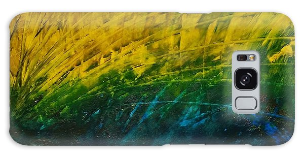Abstract Yellow, Green With Dark Blue.   Galaxy Case