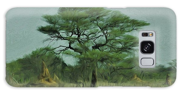 Acacia Tree And Termite Hills Galaxy Case by Ernie Echols