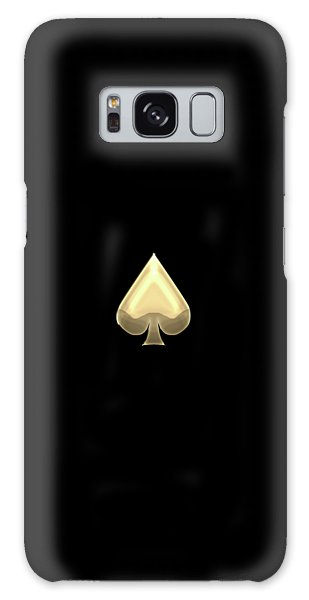 Ace Of Spades In Gold On Black   Galaxy Case