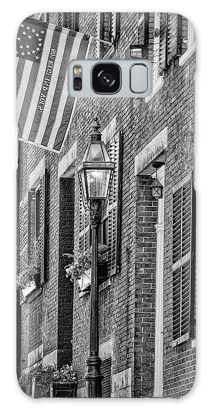 Galaxy Case featuring the photograph Acorn Street Details Bw by Susan Candelario