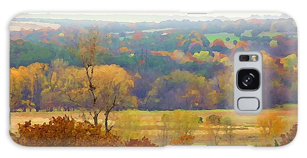 Galaxy Case featuring the digital art Across The River In Autumn by Shelli Fitzpatrick