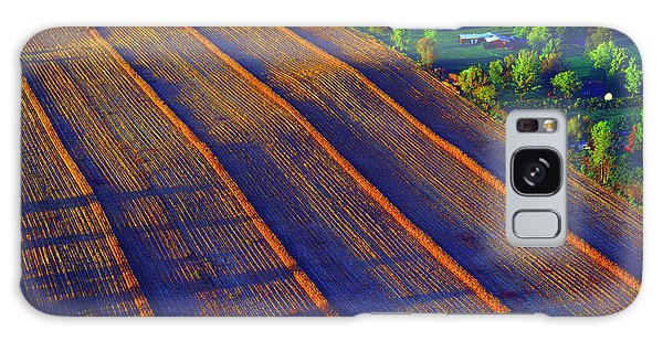 Aerial Farm Field Harvested At Sunset Galaxy Case