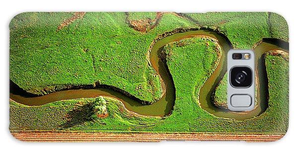 aerial, farm, stream, northern, Illinois, farms, meandering  Galaxy Case